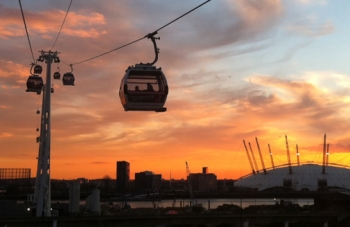 Cable car over the O2 arena, London